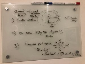Glenn Mackintosh physiotherapy exercises drawn by his physiotherapy on a whiteboard